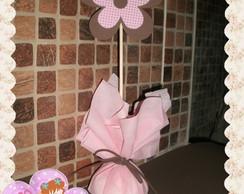Centro de mesa flor marrom e rosa