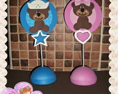 Urso marrom e azul e Ursa marrom e rosa