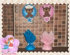 PIC Urso marrom e azul / rosa