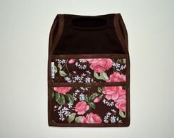 Lixeira De Carro - Marrom c/ Floral rosa