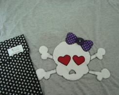 Camiseta Customizada Caveira De Lacinho