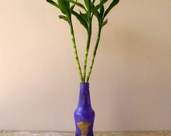 Garrafa Violeta com Pinup Dourada