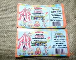Convite Ticket Circo