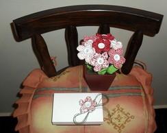 Vaso com flor em tecido e porta cart�o