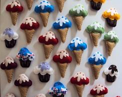 �m� de geladeira sorvetinhos e cupcakes