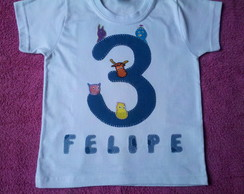 Camiseta infantil patch aplique com nome