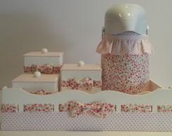 Kit Higiene Floral Vermelho com po�
