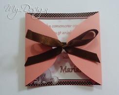 Convite Gatinha Marie Rosa e Marrom