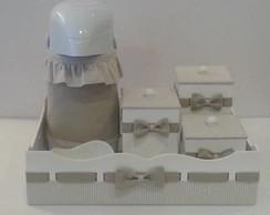 Kit Higiene Xadrez Bege e Branco