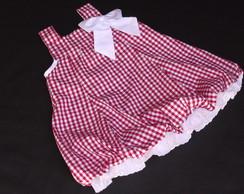 Vestido Xadrez Vermelho e Branco