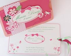 Convite Borboleta Rosa e Pink