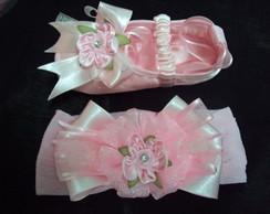 Kit Luxo Sapatinho E Faixa rosa