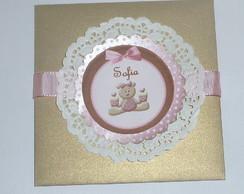 Convite Urso Rosa 1 aninho