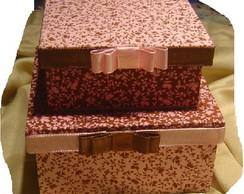 Kit caixa MDF rosa e marrom