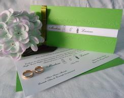 Convite de Casamento Ma�a Verde e Branco