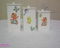 Conjunto potes de higiene p/menino BABY