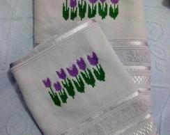 Conjunto de toalhas tulipas rosto+lavabo