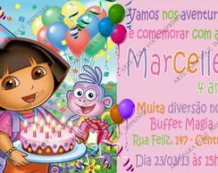 Arte de Convite Dora Aventureira