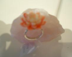 Anel em Prata e pedra de flor de l�tus