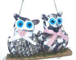 enfeite de casal de coruja