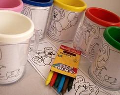 Kit pintando no caneco + giz de cera