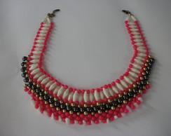 Maxi colar entrela�ado pink - Promo��o