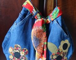 Bolsa Jeans com Aplique.
