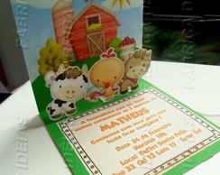Convite Fazendinha 3d Cute