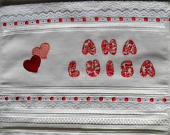 Toalha de Lavabo com Cora��es em Patch