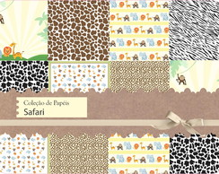 Kit de Pap�is Cole��o Safari Scrapbook
