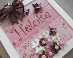 Enfeite de Porta Flores Rosa e Marrom