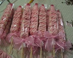 Espetinhos de Marshmallow - Rosa e Branc