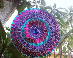 Mandala Azul e Violeta em vidro de 30cm
