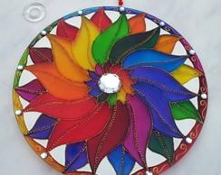 Mandala Arco �ris em vidro de 30cm