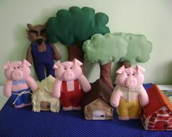 Kit Decora��o Os 3 Porquinhos e Lobo Mau