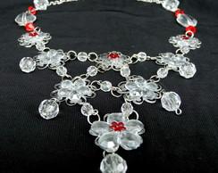 Maxi Colar Flores transparentes