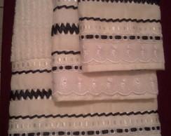Jogo de toalhas com tran�ado em fita