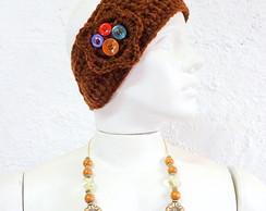 Headband Faixa Croch� Chocolate Bot�es