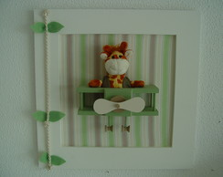 (DO 0082) Quadro decorativo girafa avi�o