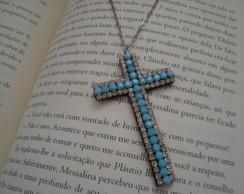 Crucifixo Strass Azul