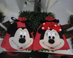 Saquinho de tecido Minnie e Mickey