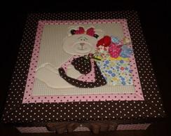 Caixa Ursinha patchwork embutido