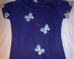 Camisa Patchwork flores e borboletas