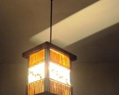 lumin�ria de teto lustre r�stico bambu
