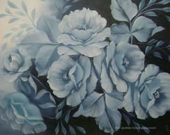 Quadro de rosas pintado � m�o