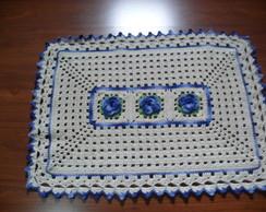 Tapete Retangular Flores Azuis