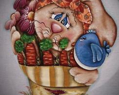 """Projeto 02 """"Coelha com vaso de flores """""""