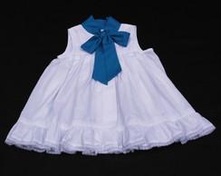 Vestido Branco com La�arote Azul