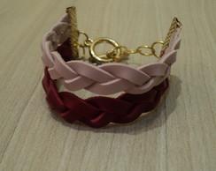 Pulseira Tran�ada Rosa c/ Vermelho