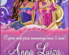 Arte de Convite Barbie Castelo Diamante